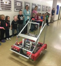Staff and Students watching ADHS robot demonstration